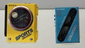 Sony's Walkman models, portable cassette players which were produced in 1980's and 1990's are displayed at Sony's history museum in Tokyo, February 23, 2012. REUTERS/Kim Kyung-Hoon
