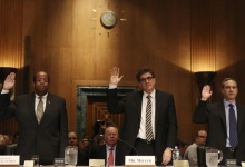 (L-R) J. Russell George, Treasury Inspector General for Tax Administration of the U.S. Treasury, Steven Miller, the acting director of the U.S. Internal Revenue Service, and Douglas Shulman, former commissioner of the Internal Revenue Service, are sworn in before the Senate Finance Committee in Washington May 21, 2013.REUTERS/Gary Cameron