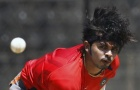 Shanthakumaran Sreesanth bowls a ball during a practice session before their ICC Cricket World Cup Group B match against Ireland in Bangalore March 5, 2011. REUTERS/Vivek Prakash
