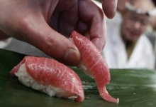 "A sushi chef serves sushi of high-quality fatty Atlantic bluefin tuna or ""o-toro sushi nigiri"" at a sushi restaurant in Tokyo March 18, 2010. REUTERS/Issei Kato"