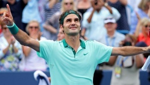 Aug 17, 2014; Cincinnati, OH, USA; Roger Federer celebrates after defeating David Ferrer (not pictured) on day seven of the Western and Southern Open tennis tournament at Linder Family Tennis Center. Mandatory Credit: Mark Zerof-USA TODAY Sports