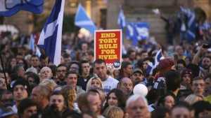 'Yes' campaigners gather for a rally in George Square, Glasgow, Scotland September 17, 2014. REUTERS/Paul Hackett