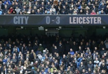 Football - Manchester City v Leicester City - Barclays Premier League - Etihad Stadium - 6/2/16. General view of Manchester City fans with the scoreboard. Reuters / Andrew Yates. Livepic