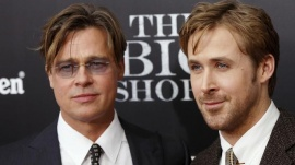 """Cast members Brad Pitt and Ryan Gosling pose on the red carpet at the premiere of  """"The Big Short"""" in New York November 23, 2015.   REUTERS/Shannon Stapleton"""