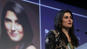 Journalist and filmmaker Sharmeen Obaid-Chinoy of Pakistan speaks after receiving the Crystal Award during the annual World Economic Forum (WEF) meeting 2013 in Davos January 22, 2013. REUTERS/Denis Balibouse/Files