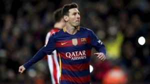 Football Soccer - Barcelona v Athletic Bilbao - Spanish Liga - Camp Nou stadium, Barcelona - 17/1/16, Barcelona's Lionel Messi celebrates a goal against Athletic Bilbao. REUTERS/Albert Gea