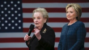 Former Secretary of State Madeleine Albright (L) introduces Hillary Clinton during a campaign stop in Concord, New Hampshire, February 6, 2016. REUTERS/Adrees Latif
