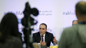 FIFA presidential candidate Prince Ali Al Hussein of Jordan speaks at the Press Club in Geneva, Switzerland, February 11, 2016. REUTERS/Pierre Albouy