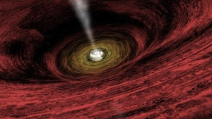 An artist's impression of a growing supermassive black hole located in the early Universe is seen in this NASA handout illustration released on June 15, 2011.  REUTERS/NASA/Chandra X-Ray Observatory/A.Hobart/Handout