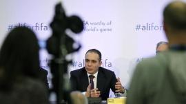 FIFA presidential candidate Prince Ali Al Hussein of Jordan speaks at the Press Club in Geneva, Switzerland, February 11, 2016. REUTERS/Pierre Albouy