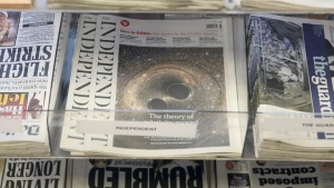 "Copies of ""The Independent"" newspaper are displayed for sale at a store in London, Britain February 12, 2016. REUTERS/Neil Hall"