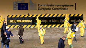 Activists of environmental group Greenpeace wear masks and protective clothing while protesting outside the European Commission headquarters in Brussels November 7, 2012.  REUTERS/Yves Herman