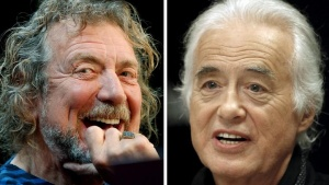 Lead singer Robert Plant (L) and guitarist Jimmy Page of British rock band Led Zeppelin are seen October 9, 2012 and July 21, 2015 in New York and Toronto in this combination file photo. REUTERS/Carlo Allegri, Hans Deryk/Files
