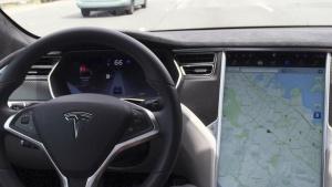 The interior of a Tesla Model S is shown in autopilot mode in San Francisco, California, U.S., April 7, 2016.   REUTERS/Alexandria Sage/Files
