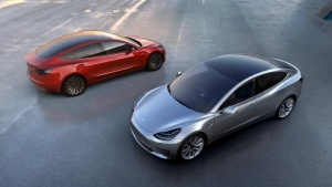 Tesla Motors' mass-market Model 3 electric cars are seen in this handout picture from Tesla Motors on March 31, 2016.   Tesla Motors/Handout via Reuters/Files