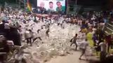 Flying chair mayhem marrs presidential campaign launch in Bolivia