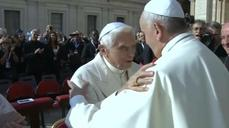 Former Pope Benedict appears at Vatican event for the elderly