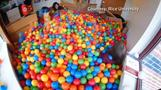 College student turns dorm room into ball pit