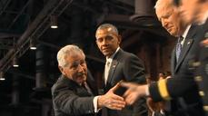Outgoing U.S. Defense Secretary Hagel lauded at farewell ceremony