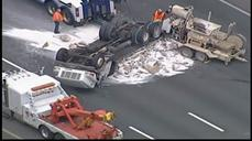 Overturned cement truck shuts NC highway