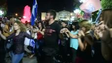 Thousands celebrate Greek referendum 'No' vote