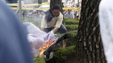 Protester sets himself on fire in Seoul