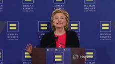 Clinton pokes fun at Republicans on gay rights