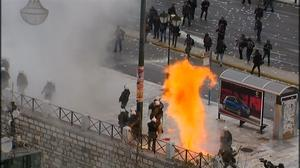 Petrol bombs, tear gas as Greeks protest pension reforms