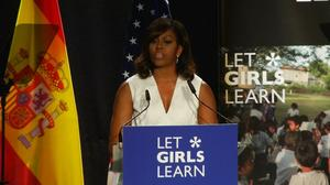 Michelle Obama campaigns for girls' education in Madrid