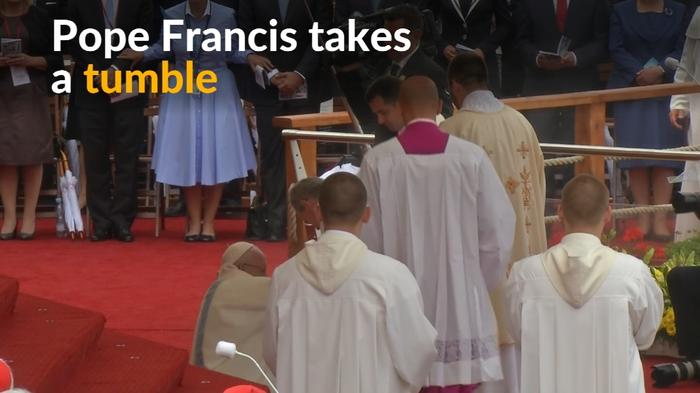 Pope Francis tumbles at World Youth Day ceremony
