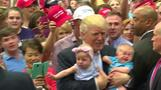 Trump faces crying baby
