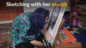 Disabled Afghan girl painter dreams of international fame