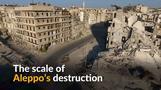 Bird's eye view of war-ravaged Aleppo
