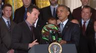 Obama welcomes NASCAR champ, jokes about driving car