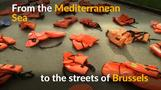 Migrant life jackets used in EU protest