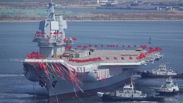 China unveils its first home-built aircraft carrier