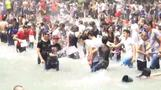 Armenians douse each other with water at summer festival