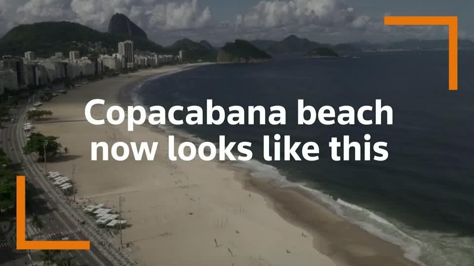 Rio's iconic Copacabana beach eerily deserted after coronavirus closures