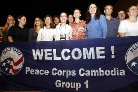 American teachers arrive at Phnom Penh international airport February 2, 2007. REUTERS/Chor Sokunthea