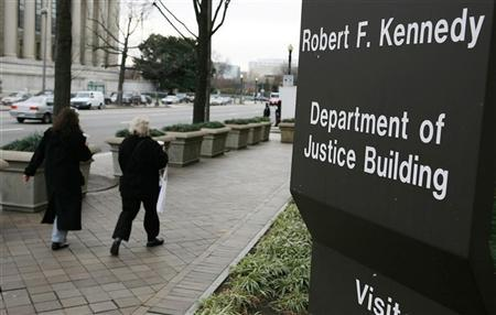 The outside of the Department of Justice in Washington, January 9, 2006. Nearly all of the terrorism-related statistics reported by the U.S. Justice Department and the FBI from the September 11 attacks until early 2005 had some inaccuracies, the department's inspector general said on Tuesday. REUTERS/Joshua Roberts