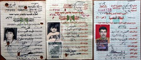 Citizenship identification cards issued by the Iraqi government shows Abeer Qassim Hamza al-Janabi (C) in 1993 with a date of birth of August 19, 1991, as translated from the identity card, her mother Fakhriya Taha Muheisin al-Janabi (L), in 1990, and her father Qassim Hamza Rasheed al-Janabi, in 2006, in this handout photo from their relatives in Baghdad July 9, 2006. A U.S. soldier under court-martial at a Kentucky military base broke down in tears on Wednesday as he described how he and others planned the rape of Abeer, who was murdered along with her family. REUTERS/Handout