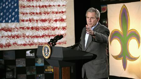 President George W. Bush speaks during a visit to Samuel J. Green Charter School in New Orleans, Louisiana, March 1, 2007. REUTERS/Kevin Lamarque