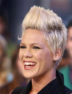 In this file photo Pink smiles during an interview for the television show 'Much On Demand' in Toronto January 30, 2007. REUTERS/Mike Cassese