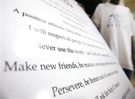 Affirmation of AileyCamp Boston are seen on a sheet in Boston, July 27, 2006. Attending either residential or day camp is part of the annual routine for millions of American children with many schools closed for almost three months. REUTERS/Brian Snyder