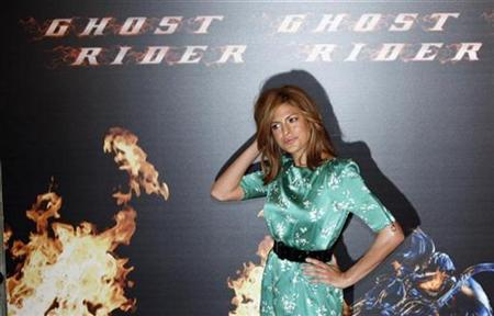 Actress Eva Mendes strikes a pose during a photocall to promote her film ''Ghost Rider'' in Madrid, January 29, 2007. The creator of Ghost Rider has sued Marvel Enterprises, Sony Pictures Entertainment and several entities over what he claims is an unauthorized ''joint venture and conspiracy to exploit, profit from and utilize'' his copyrights to the comic book character. REUTERS/Sergio Perez