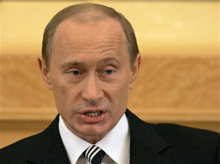 Russia's President Vladimir Putin speaks during his annual address to both houses of parliament in Moscow, April 26, 2007. Putin on Thursday declared a moratorium on the 1990 Conventional Forces in Europe Treaty, saying the NATO signatories of the pact had not ratified it and did not respect its clauses. REUTERS/Alexander Natruskin