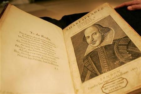 A 1640 copy, in contemporary sheep binding, of William Shakespeare's first collected edition of his Poems sits on display at Sotheby's auction house in New York, in this April 19, 2006 file photo. Children typically spend hours in front of a computer so a Canadian university has decided to introduce them to Shakespeare with a video game. REUTERS/Shannon Stapleton