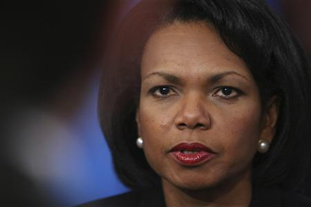 U.S. Secretary of State Condoleezza Rice appears on ''This Week'' with George Stephanopoulos in Washington DC April 29, 2007. REUTERS/Lauren Victoria Burke/Handout