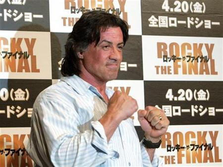 Sylvester Stallone poses for photographers during a news conference to promote his latest movie ''Rocky the Final'' in Tokyo, in this March 26, 2007 file photo. Stallone was fined $2,500 by an Australian court on Monday for illegally bringing 48 vials of human growth hormone into Australia during a promotional trip in February. REUTERS/Toshiyuki Aizawa