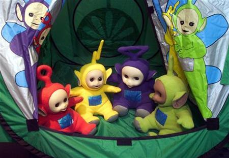 The first talking ''Teletubbies'' are shown in this file picture. Poland's conservative government took its drive to curb what it sees as homosexual propaganda to the small screen on Monday, taking aim at Tinky Winky and the other Teletubbies. REUTERS/Michael Dalder